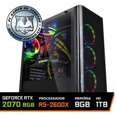 PC Gamer T-Power Major LVL-3 AMD Ryzen 5 2600X / Geforce RTX 2070 8GB / DDR4 8GB / HD 1TB / 600W