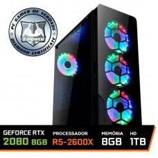 PC Gamer T-Power Major LVL-4 AMD Ryzen 5 2600X 3.6GHz / Geforce Rtx 2080 8gb / 8GB DDR4 / HD 1TB / 600W