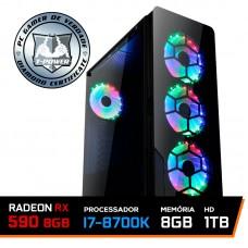 PC Gamer T-Power Super Edition Intel I7 8700K / RX 590 8GB / DDR4 8GB / HD 1TB / 600W