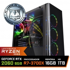 Pc Gamer T-Power Super Warlord Lvl-3 AMD Ryzen 7 3700X / Geforce RTX 2060 6GB / DDR4 16GB / HD 1TB / 600W / RZ3