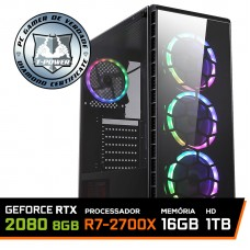 Pc Gamer T-Power Warlord LVL-3 AMD Ryzen 7 2700X / Geforce RTX 2080 8GB / DDR4 16GB / HD 1TB / 700W