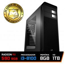 Pc Gamer T-Gamer Edition Core Intel I3 8100 / Radeon RX 590 8GB / DDR4 8GB / HD 1TB / 600W