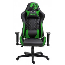 Cadeira Gamer Snake Mamba Negra 9183, Reclinável, Black-Green