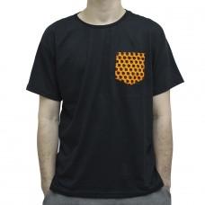 Camiseta Terabyteshop, Unisex, Manga Curta, Algodão, Preto e Laranja, Bolso (P,M,G,GG)
