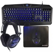 Combo Gamer Hoopson 4 em 1, Teclado, Mouse, Headset e Mousepad, Azul, TPC-050B