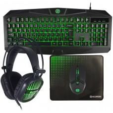 Combo Gamer Hoopson 4 em 1, Teclado, Mouse, Headset e Mousepad, Verde, TPC-050G
