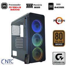 Computador NTC T-Gamer AMD Ryzen 5 3400G / 8GB DDR4 / SSD 240GB / Windows 10 Pro / Fonte 500W