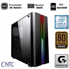 Computador NTC T-Gamer Intel Core i5 9400 / 8GB DDR4 / SSD 240GB / Windows 10 Pro / Fonte 500W