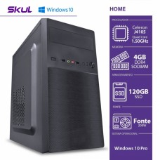 Computador Skul T-Home H100 CELERON QUAD CORE J4105 / 4GB DDR4 SODIMM / SSD 120GB / HDMI/VGA / FONTE 200W / Windows 10 Pro
