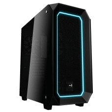 Gabinete Gamer Aerocool Project 7, Mid Tower, Com 1 Fan, Vidro Temperado, Black, S-Fonte, P7-C0