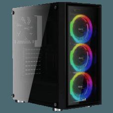 Gabinete Gamer Aerocool Quartz Revo RGB, Com 3 Fans, Mid Tower, Vidro Temperado, Black, S-Fonte