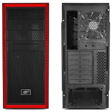 Gabinete Gamer DeepCool Tesseract SW-RD, Mid Tower, Com 1 Fan, Black-Red, S-Fonte, DP-ATX-TSRBKRD