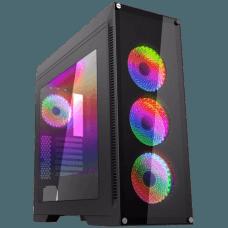Gabinete Gamer Gamemax Rainbow M911 RGB, Mid Tower, Com 4 Fans, Vidro Temperado, Black, S-Fonte