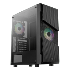 Gabinete Gamer Aerocool Menace Saturn FRGB, Mid Tower, Lateral de Vidro Temperado, Black, S/Fonte, C/1 Fan