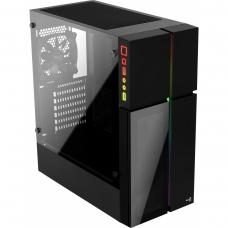 Gabinete Gamer Aerocool Playa RGB, Mid Tower, Com 1 Fan, Vidro Temperado, Black, S-Fonte