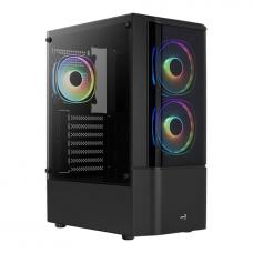 Gabinete Gamer Aerocool Quantum, V2, Mid Tower, RGB, Vidro Temperado, Black, ATX, Sem Fonte, Com 3 fans, QUANTUM-G-BK-V2