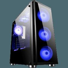 Gabinete Gamer Bluecase BG-017, Mid Tower, S-Fan, Vidro Temperado, Black, S-Fonte, 03925-IVB