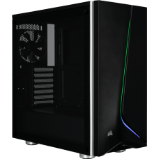 Gabinete Gamer Corsair, Carbide SPEC-06 RGB, Mid Tower, Vidro temperado, Black, Sem Fonte, Com 2 Fans, CC-9011146-WW