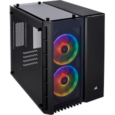 Gabinete Gamer Corsair Crystal 280x RGB, Mini Tower, S-Fan, Vidro Temperado, Black, S-Fonte, CC-9011135-WW