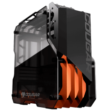 Gabinete Gamer Cougar Blazer Essence, Mid Tower, Vidro temperado, Black/Orange, Sem Fonte, Sem Fan, 385LMH0-0001