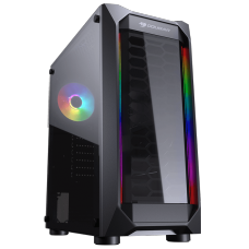 Gabinete Gamer Cougar, MX410, Mid-Tower, Acrílico, Black, Sem Fonte, Com 1 Fan