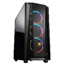 Gabinete Gamer Cougar, MX660 Mesh RGB, Mid Tower, Vidro Temperado, Black, Com 3 Fans, Sem Fonte, 385BMS0.0004
