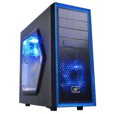 Gabinete Gamer Deepcool Tesseract SW-BU, Mid Tower, Com 2 Fans Blue, Black, Sem Fonte, DP-CCATX-TSRBKBL