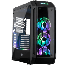 Gabinete Gamer DT3 Sports Apollo SYNC, Mid Tower, Com 3 Fans RGB, Vidro Temperado, Black, S-Fonte
