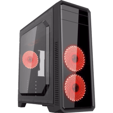 Gabinete Gamer Gamemax ECO G561 Plus, Mid Tower, Com 3 Fans Red, Black, S-Fonte