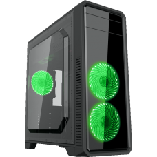 Gabinete Gamer Gamemax ECO G561 Plus, Mid Tower, Com 3 Fans Green, Black, S-Fonte - Open Box