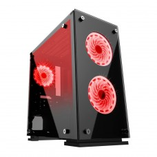 Gabinete Gamer Gamemax Hero, Mid Tower, ​​​​​​​Vidro temperado, Com 3 Fans Red, Black, Sem Fonte