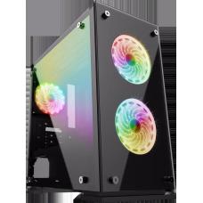 Gabinete Gamer Gamemax, Mid Tower, Vidro temperado, Com 3 Fans RGB, Black, S-Fonte, H605-TA - Open Box