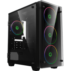 Gabinete Gamer GameMax Stratos H609 ARGB, Mini Tower, Vidro Temperado, Black, Sem Fonte, Com 4 Fans, H609