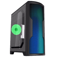 Gabinete Gamer Gamemax Wave G562W, Mid Tower, Com 1 Fan Green, Lateral em Acrílico, Black, S-Fonte