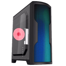 Gabinete Gamer Gamemax Wave G562W, Mid Tower, Com 1 Fan Red, Lateral em Acrílico, Black, S-Fonte