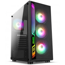 Gabinete Gamer liketec Dex RGB, Mid Tower, Com 3 Fans, Vidro Temperado, Black, S-Fonte - Open Box