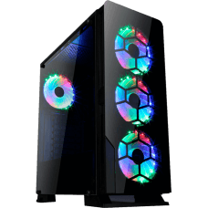 Gabinete Gamer liketec Diamond RGB, Mid Tower, com 3 Fan RGB, Vidro Temperado, Black, S-Fonte