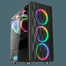 Gabinete Gamer liketec Horus RGB, Mid Tower, com 3 Fan RGB, Vidro Temperado, Black, S-Fonte