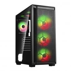 Gabinete Gamer Liketec Horus V2, Mid Tower, RGB, Vidro Temperado, Black, ATX, Sem Fonte, Com 4 Fans