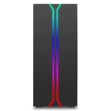 Gabinete Gamer liketec Rainbow RGB, Mid Tower, com 1 Fan, Vidro Temperado, Black, S-Fonte