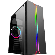 Gabinete Gamer liketec Rainbow RGB, Mid Tower, Vidro Temperado, Black, Sem Fonte, Com 1 Fan