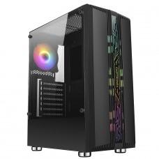 Gabinete Gamer Liketec Velox, Mid Tower, RGB, Vidro Temperado, Black, ATX, Sem Fonte, Com 1 Fan