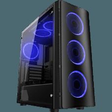 Gabinete Gamer Liketec W1 Artic Vidro Temperado LED Azul Mid Tower Sem Fonte
