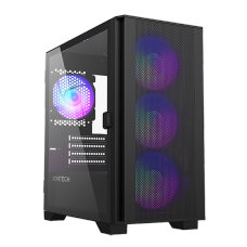 Gabinete Gamer Montech AIR 100 ARGB, Mini Tower, Black, Micro ATX, 4 Fans, Vidro Temperado