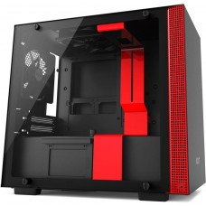 Gabinete Gamer NZXT H200, Mini Tower, Com 2 Fans, Vidro Temperado, Black-Red, S-Fonte, CA-H200B-BR