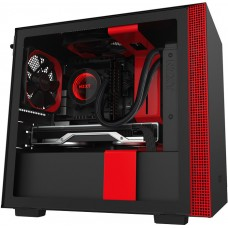 Gabinete Gamer NZXT H210, Mini Tower, Vidro Temperado, Red, Sem Fonte, Com 2 Fans, CA-H210B-BR