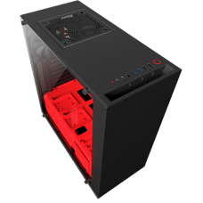 Gabinete Gamer NZXT S340 Elite, Mid Tower, Vidro Temperado, Black-Red, Sem Fonte, Com 2 Fans, CA-S340W-B4