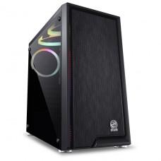 Gabinete Gamer PCyes Polaris, Mid Tower, Vidro Temperado, Black, PLPTRGB3FV, S/Fonte, C/3 Fans RGB