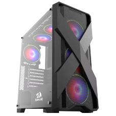 Gabinete Gamer Redragon Brawn, Mid Tower, S-Fan, Vidro Temperado, Black, S-fonte - Open Box
