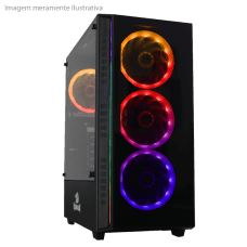 Gabinete Gamer Redragon Grapple, Mid Tower, S-Fan, Vidro Temperado, Black, S-fonte, GC-607-BK